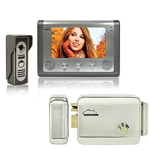 SilverCloud PNI-SC715YR300 Video Interface Kit mit 7-Zoll-LCD-Bildschirm und Elektromagnetischer Verriegelung Grau - Lcd-verriegelung Kit