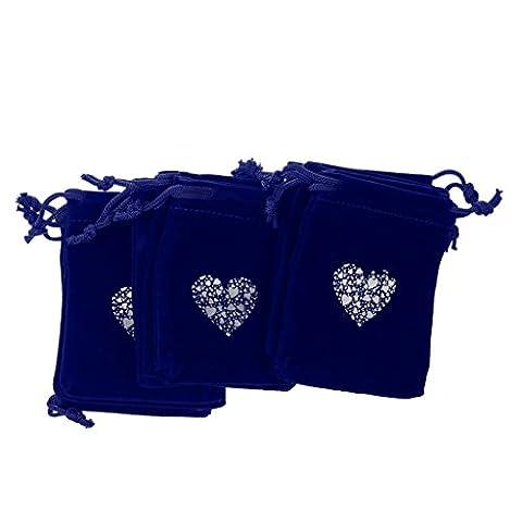 Lot de 10pcs Sac à Cordon de Cadeau Bijoux Perles Motif Coeur Pochettes en Velours pour Ornement de Mariage Noël Anniversaire - Bleu, Taille unique