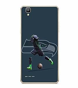PrintVisa Football Player Playground High Glossy Metal Designer Back Case Cover for Oppo F1