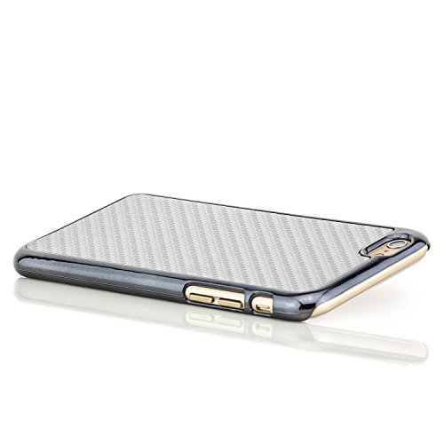 Saxonia® iPhone 6 Plus / 6S Plus Hülle Case Schutzhülle Cover Slim Design in Carbon-Optik Braun Silber