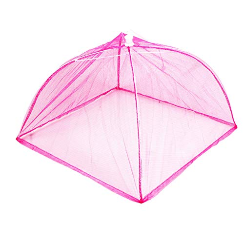 Sky-Pop up Mesh Large Screen Food Cover Tent, Reusable and Collapsible Outdoor Food Umbrella, Food Protector Tent Keep Out Flies, Bugs, Mosquitoes, 35 X 27 cm, Pink Square