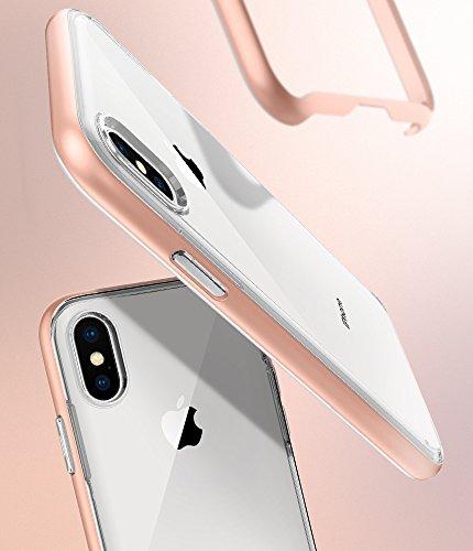 iPhone X Hülle, Spigen® [Neo Hybrid Crystal] Doppelschichter Schutz [Satin Silver] 2-teilige Premium Handyhülle Transparent Silikon TPU Schale + PC Farbenrahmen Dual Layer Schutzhülle für iPhone X Cas NHC Blush Gold