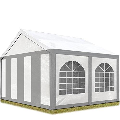 TOOLPORT Hochwertiges Partyzelt 3x4 m Pavillon Zelt 240g/m² PE Plane Gartenzelt Festzelt Bierzelt Wasserdicht grau-weiß