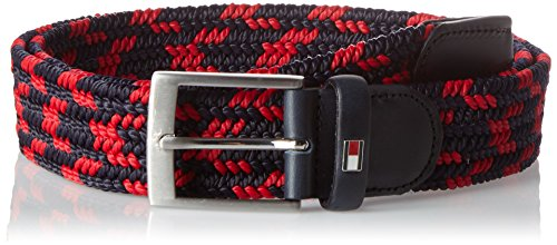 Tommy hilfiger adan multi belt 3.5, cintura uomo, rosso (tommy navy/red 903), 90