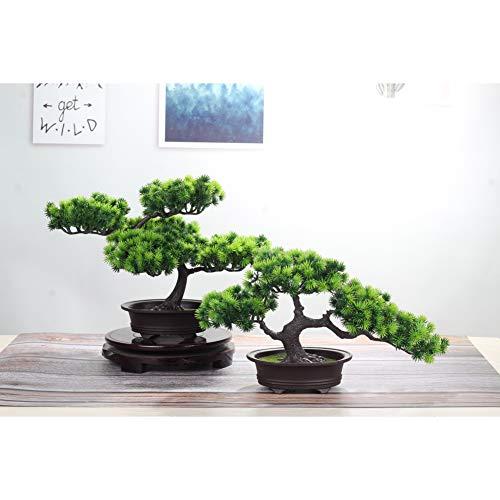 jianbo Kunstpflanze Pflanze,Japanischer Feng Shui Pinien ,Feng Shui Lucky Deko,Kunstbaum ,Höhe ca. 20 cm ,GrüN, #39 - 5