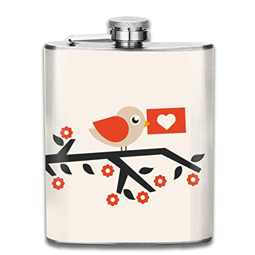 The Love Letter Birdie On Branch Outdoor Portable 304 Stainless Steel Leak-Proof Alcohol Whiskey Liquor Wine 7OZ Pot Hip Flask Travel Camping Flagon for Man Woman Flask Great Little Gift (Love Personalisierte Letter)