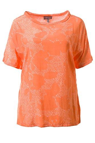 Ulla Popken Femme Grandes tailles Tunique top femmes imprimée - manches courtes 710613 Orange