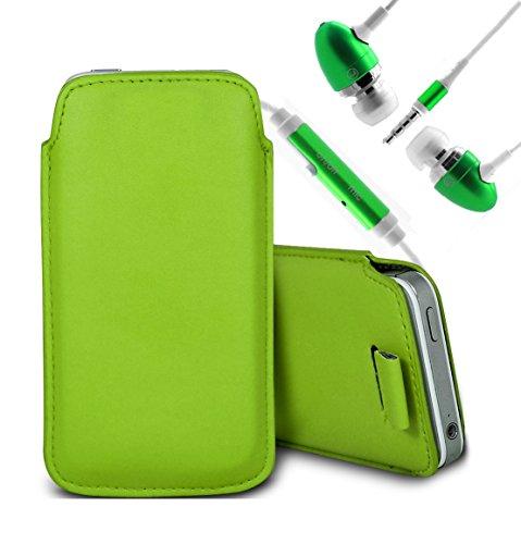 Brun/Brown - ZTE Blade G Housse deuxième peau et étui de protection en cuir PU de qualité supérieure à cordon avec stylet tactile par Gadget Giant® Vert/Green & Ear Phone