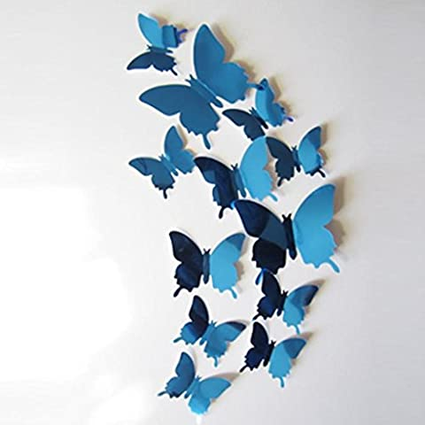 Kingko® 12PCS 3D Mirror Butterfly Wall Sticker Fridge Room Decor Decal Applique for home bedroom decor corp office wall saying mural wallpaper birthday gift for boys and girls (Blue)