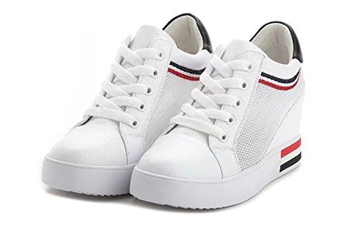 Sportliche Damen Plateau Low Sneakers Bequeme Schnürer Schuhe Low-Top Keilabsatz Weiß Sommer
