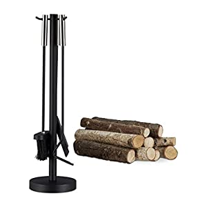 Relaxdays Modern Steel Fire Irons. 4-Piece Fireplace Companion Set with Shovel, Broom, Poker and Rack, Black