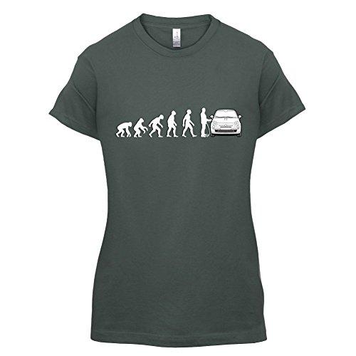 Evolution of Man - Fiat 500 Fahrer - Damen T-Shirt - 14 Farben Dunkelgrau