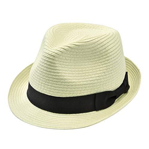 Faletony Stroh Panamahut, Sommer Fedora Sonnenhut Strohhut mit Band Faltbar Jazz Hut für Damen Herren, Beige/Kahki (Beige)