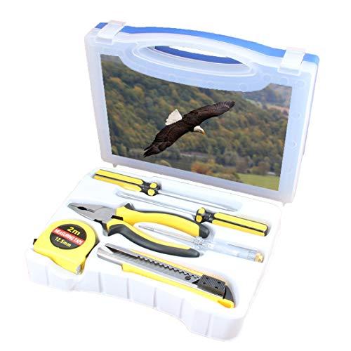 Praktisches Werkzeugset Kombination Haushalt Eagle Basic DIY Handwerkzeugkoffer Mit Schraubendreher, Zange, Maßband, Teststift, Schneidwerkzeug, König der Lüfte, der über den Wald und die Berge fliegt -
