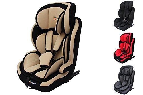 Clamaro'Guardian Isofix 2018' Kinderautositz 9-36 kg mit ISOFIX, verstellbar und mitwachsend, Auto Kindersitz für Kinder von 1-12 Jahre, Gruppe 1/2/3, ECE R44/04, Farbe: Beige Schwarz