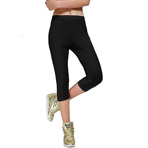 DIAMONDKIT Stretch Cotton Capri Crop Seamed Leggings Tights (L, Black)