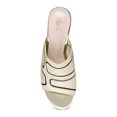Tresmode Women's Synthetic Block Heel Gold Sandals