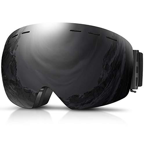 Skibrille, Herren Damen Snowboardbrille Erwachsene über Gläser OTG rahmenlose für Ski Anti-Fog von Dada-pro, UV-Schutz Sonnenbrille (Schwarz)