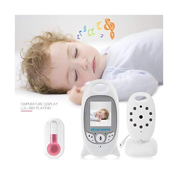 """Flybiz Wireless Baby Video Monitor with Digital Camera, 2.0"""" LCD Display Screen Baby Lullaby Night Vision Temperature Monitoring 2 Way Talk, Babyphone,Nanny,Pets Surveillance for Home Security System Flybiz Reliable 2.4 GHz FHSS Wireless Technology - This baby monitor gives you great peace of mind when your little ones are asleep upstairs and you are downstairs. Privacy and security are 100% ensured. Temperature Monitoring and LED Night Vision - You can measure the temperature around your baby easily using the baby monitor.The night vision will turn on automatically when you put the camera in the dark. 2 Way Talk Back - With the two-way communication function, parents can speak soothing words to babies and put baby at ease when babies getting agitated at night. 4"""