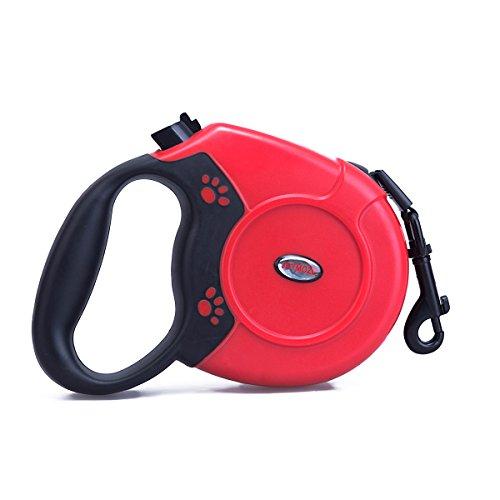 Joymoze Hunde-Rollleine für kleine mittelgroße und große Hunde von bis zu 50 kg, Nylonleine von bis zu 5m Rot 002