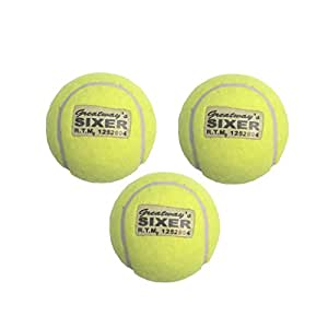 Greatway's Sixer Cricket Tennis Balls Sports Tournament Outdoor Fun (Set of 3)