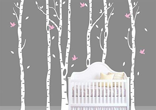 decalshut Birke Wandaufkleber Baum mit Vögeln für Kinderzimmer Wandtattoo Aufkleber Aufkleber Wohnzimmer Decor, weiß, 102