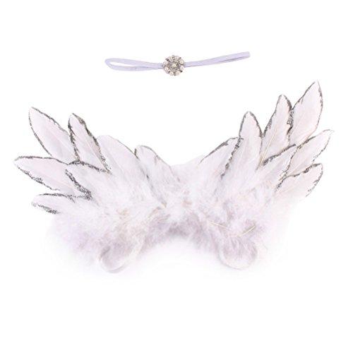 OULII Baby Kostüm Engelsflügel mit Stirnband Neugeborene Fotografie Prop Outfit (Weiß)