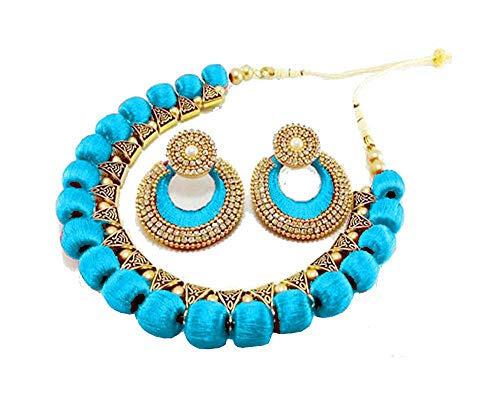 Ambal SkyBlue Choker with chanthaballi Silk Thread Necklace Set