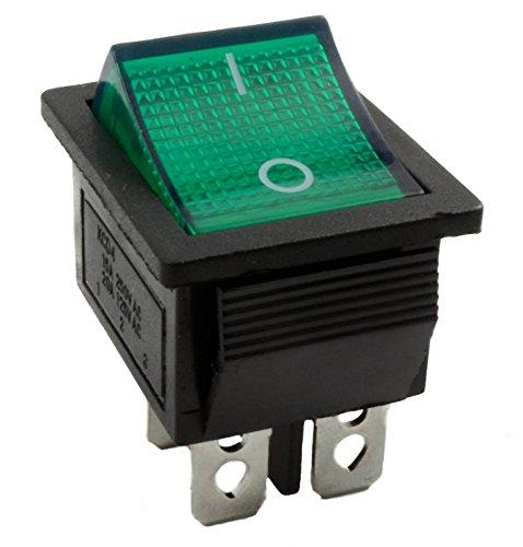 Grün LED groß Schalter Rechteck Rocker On/Off DPST 12V