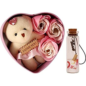 Lata Heart Shape Box with Flowers, Message Bottle and Cute Teddy (Multi-Color, Combo of 3)