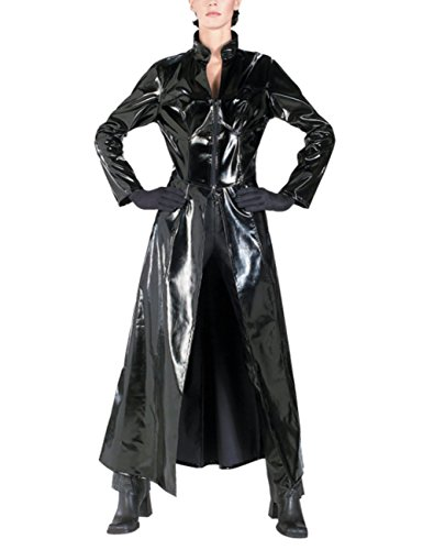 (Unisex PVC Leder Matrix Mantel Sexy Reloaded Trinity Reloaded Lange Body Halloween Cosplay Kostüm für Erwachsene)