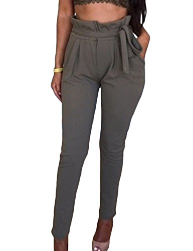HAHAEMMA Damen Elegant Harem Hose Plissee Taille Casual Lang Weit Pant Sexy mit Schleife(GY,L)