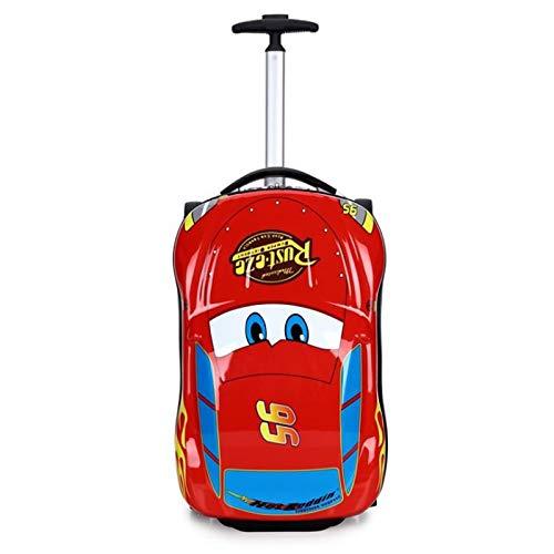Qp-sb Kinderwagenkoffer-Cartoon-Autokofferraum kann Koffer McQueen Bumblebee Primary School Trolley beifügen (Farbe : Red)