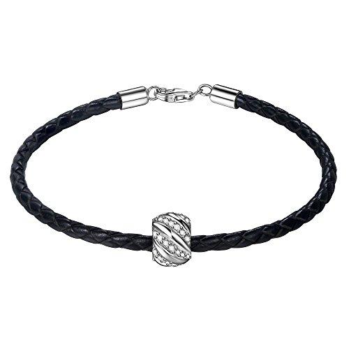 J.ENDEAR lederarmband Damen Herren schwarz Leuchtende Galaxie Silber Charm Armband 19cm Geschenk Valentinstag Geburtstag Neujahr