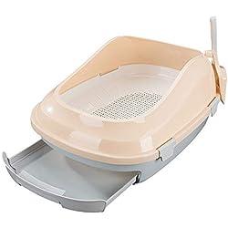 Bac à litière pour chat Toilette pour chat auto-nettoyante avec cuvette et bac à litière Ventilation anti-odeur amovible Facile à nettoyer