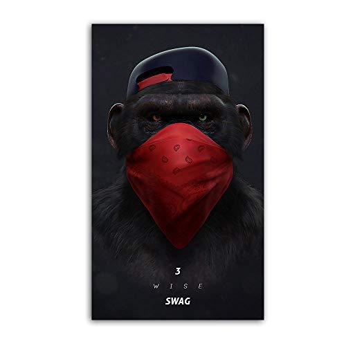 XWArtpic Große Tier Bild Leinwand Gedruckt Malerei Moderne Lustige Maske AFFE Moderne Kunst pPrint Wandkunst Poster für Wohnzimmer 30 * 55 cm