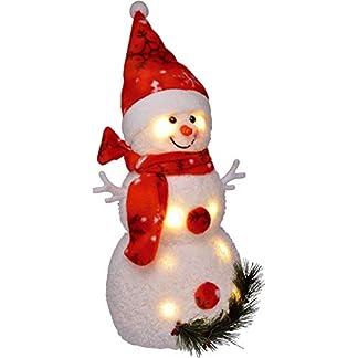 Bambelaa! Muñeco de nieve con iluminación led (42 cm, funciona con pilas), color rojo
