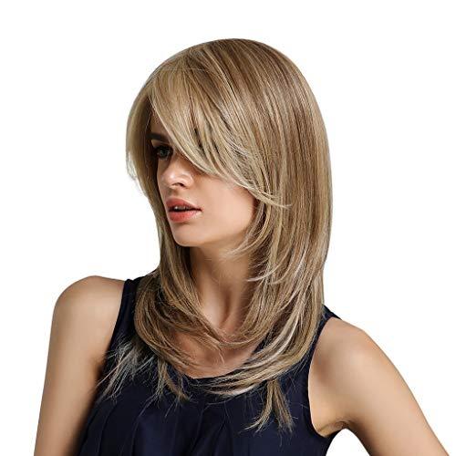 Lockigem Kostüm Haar Mit - Sisit Chemiefaser Haar modische weiße Klassische Blonde Haare Perücke mit lockigem und langem Haar für Cosplay Party und Kostüm 20 Zoll