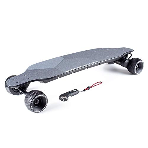 Slick Revolution Flex-Eboard 2.0 Electric Skateboard with 2 x 1200W Motors, 27mph (43km/h) Top Speed and a 19 Mile (30km) Range. (Black Rough Stuff Wheels 110mm)