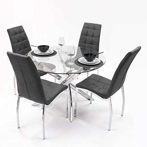 Conjunto de Comedor Dalila con Mesa Redonda 110 cm y 4 sillas...