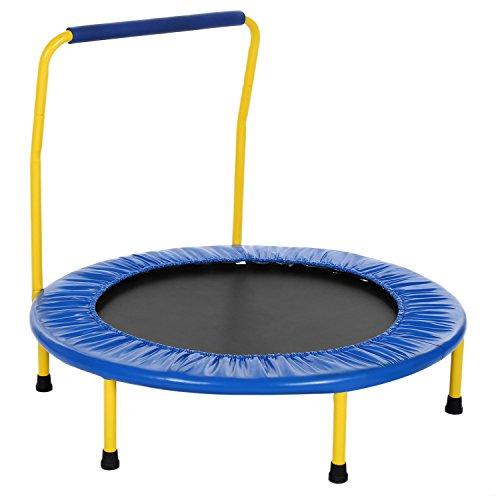 AMDirect Sport Kinder Trampolin mit Griff drinnen oder im Garten Trampolin Jumper für Kinder ab 3 Jahren (Blau)