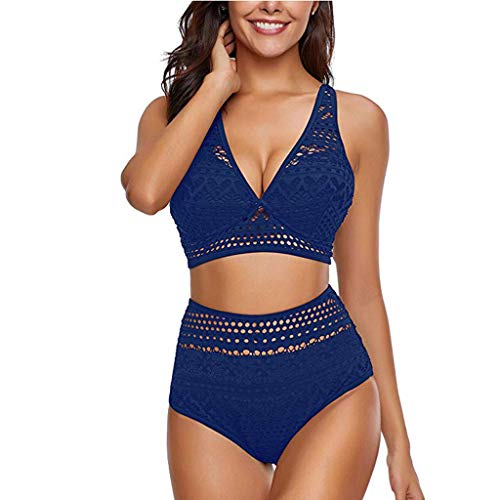 Tooth Bikini Damen Set Geteilter Swimsuit Einfarbig Ruffled Mesh Bikini Set mit Bikini High Waist Retro Hoher Taille Strandkleidung Bikinihose (Blau,M) -
