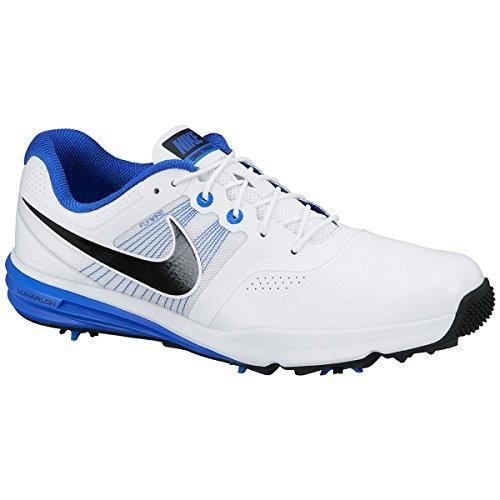 Nike Herren Lunnar Command Golfschuhe, Weiß/Schwarz/Blau (Weiß/Schwarz-Lyon-Blau), 42 1/2 EU