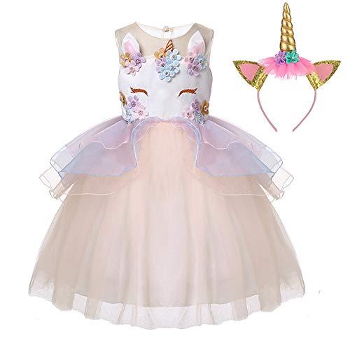 LZH Mädchen Einhorn Party Kleid Blume Rüschen Cosplay Geburtstag Prinzessin Kleid (Mädchen Hochzeit Kleid Kostüm)