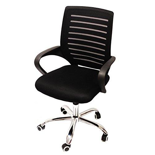 NAWA Sedie da PC Regolabile Girevole con Schienale Media Altezza con Braccioli per Home Office mod.C223 Nero