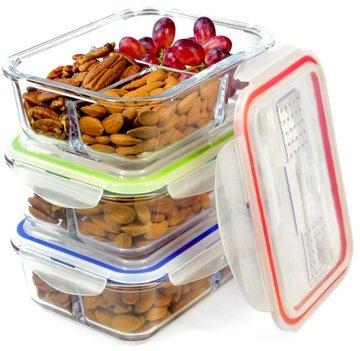 Glas Mahlzeit Prep Container–3er Pack 3fach Frischhaltedosen mit Auslaufsicher Sauce Cups und Label-Set–Mikrowelle, Gefrierschrank, Ofen, Spülmaschinenfest (3, 3fach mit Utensilien)