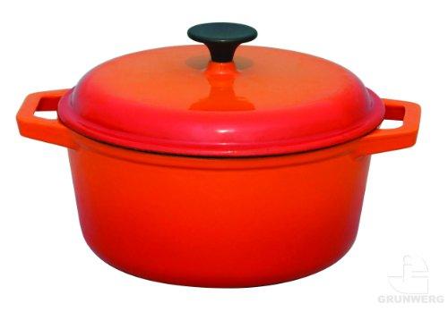 Provencale Professional Cast Iron Round Casserole Dish & Cover Lid, Deep Orange, 23cm diameter, 3L