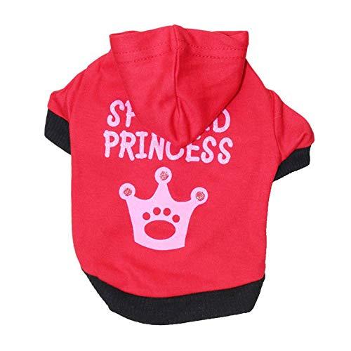 Shirt Red Tuxedo Kostüm - XGPT Hundebekleidung Haustier Kostüm Cotton Wolle rosa Krone Haustier T-Shirt Teddy Kleidung Herbst und Winter,Red,L