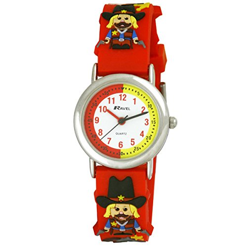 Ravel-Cartoon-Wild-West-Cowboy-3D-with-Timeteacher-Dial-Childrens-Quartz-Watch-with-White-Dial-Analogue-Display-and-Multicolour-Plastic-Strap-R151346R