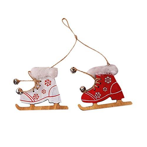 Sunnyushine Holzfarbe Weihnachtshandschuhe Stiefel Dekorativer Anhänger   DIY Kreative Weihnachtsschmuck Puppe Home Decor (Dekorativen Weihnachtsschmuck)
